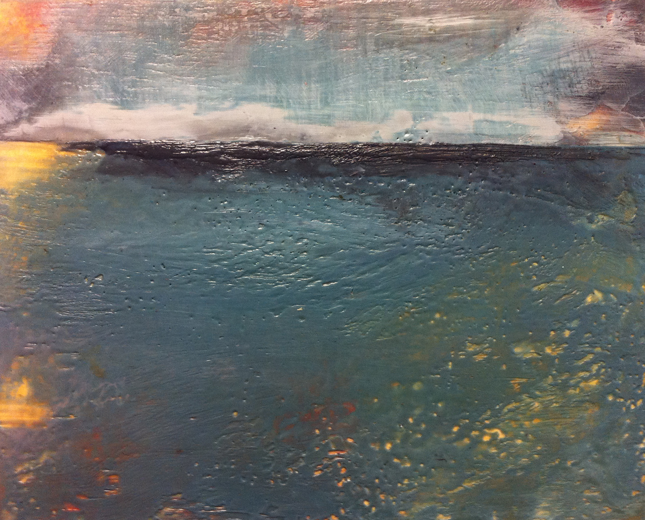 Abstract painting of horizon over water