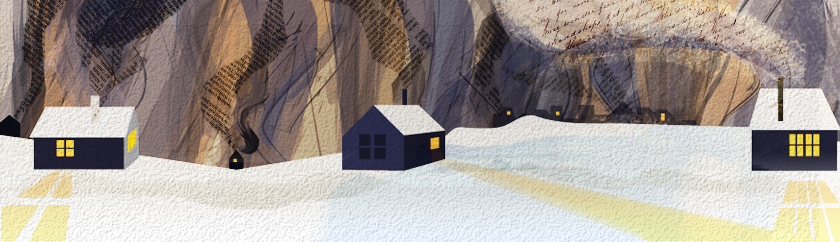Illustration of houses in snow with smokestacks emitting words