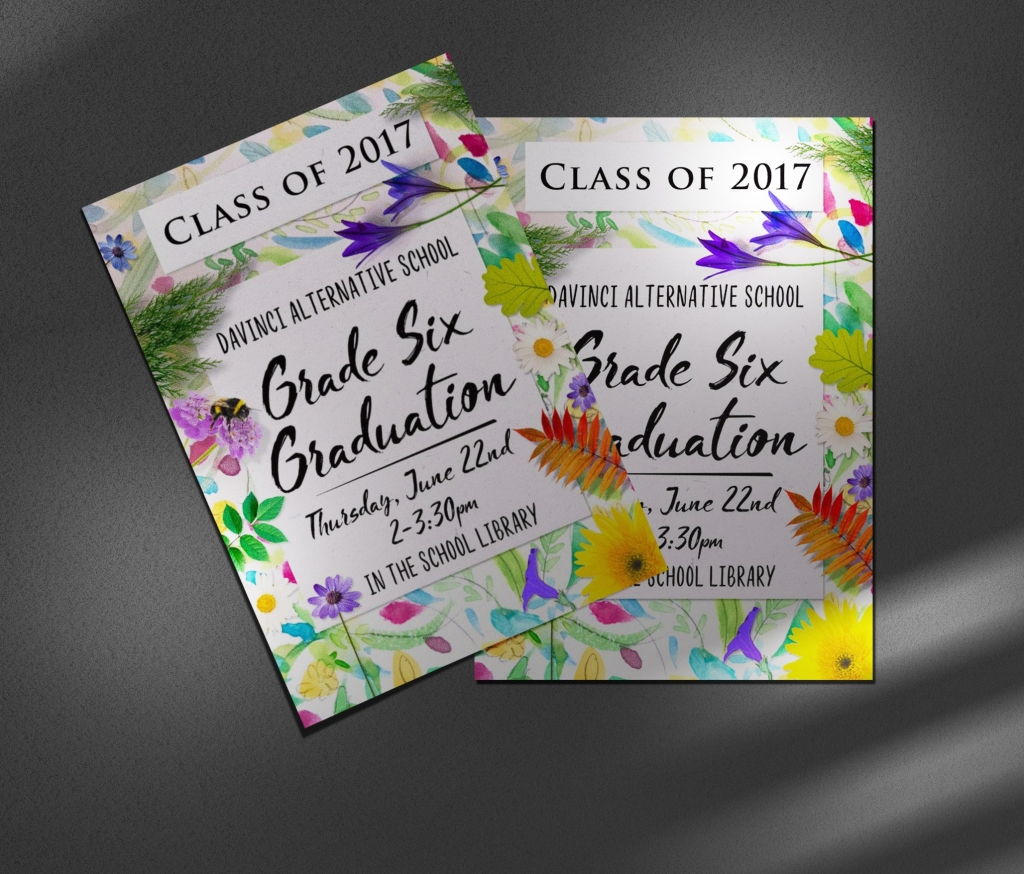 Whimsical watercolour floral Invitations for a Grade 6 Graduation.