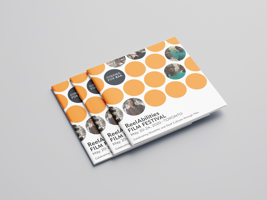 Three square Program guides for the Reel Abilities Film Festival.sit fanned on a grey sirface. Bold orange circles and Movies stills have been integrated with the Title ReelAbilities Film Festival.